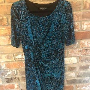 Indigo blue & black faux wrap dress